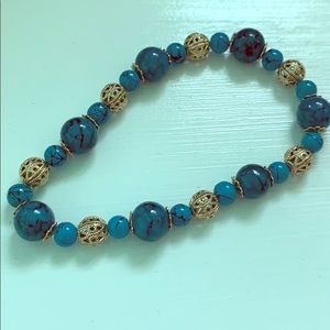 Aqua and gold bead stretch bracelet
